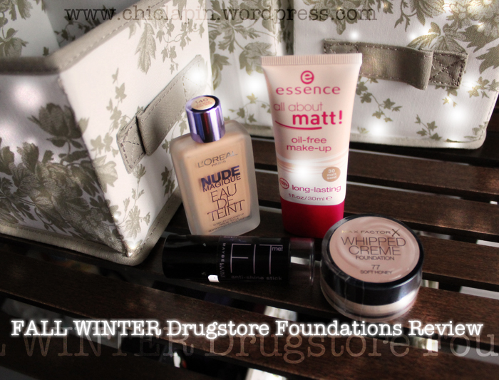 FW Drugstore Foundations Review, Nude Magique eau de teint, Fit Me stick, Whipped Creme, All about matte www.chiclapin.wordpress.com