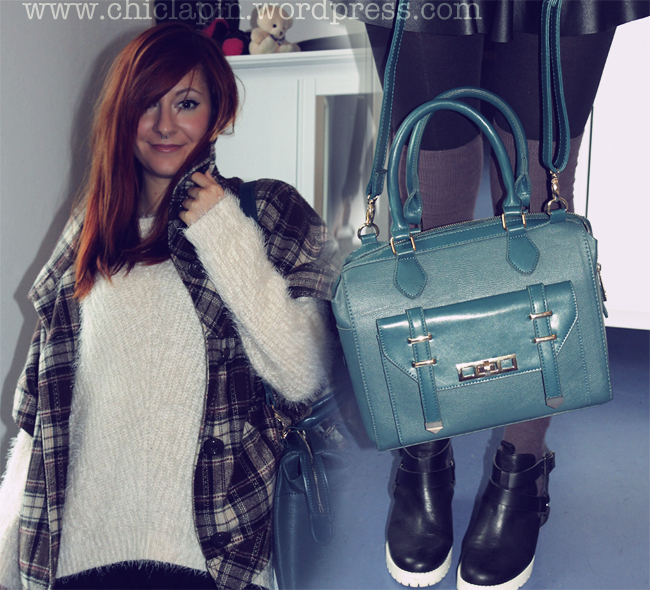 OOTD HM Fall Fluffy Sweater Pull&Bear Skirt Zara Fall 2013 heels Asos Bag www.chiclapin.wordpress.com